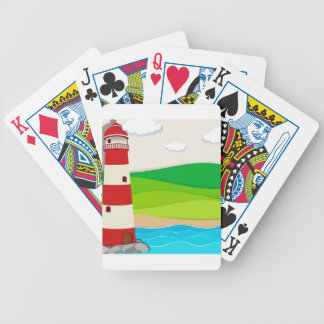 Lighthouse in the ocean bicycle playing cards