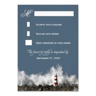 "Lighthouse Nautical Themed Wedding RSVP Cards 3.5"" X 5"" Invitation Card"