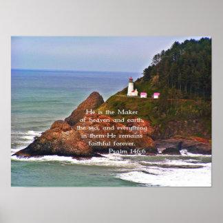 Lighthouse Ocean Sea Christian Creationarts Poster