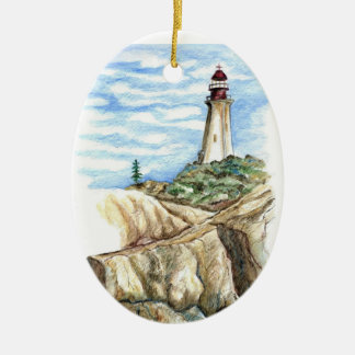 Lighthouse on Rocky Bluff - watercolor pencil Christmas Ornament