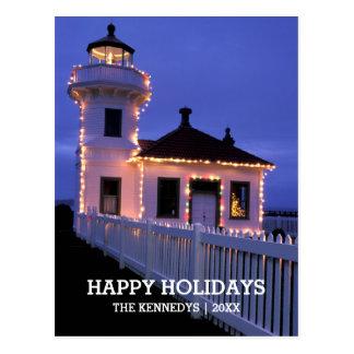 Lighthouse with Christmas Lights Postcard