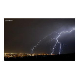 Lightning Over Salt Lake City Poster