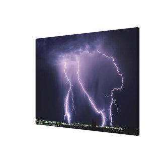 Lightning over Salt Lake Valley, Utah. Stretched Canvas Print