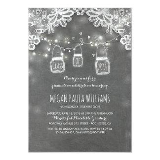 Lights Mason Jars Lace Rustic Graduation Party Card