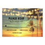 lights palms beach sunset wedding RSVP cards Invites