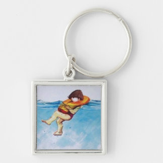Like a Life Jacket Silver-Colored Square Key Ring