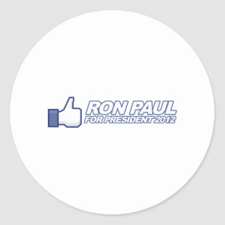 Like Ron Paul - 2012 election president vote Round Sticker