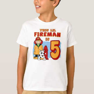 Lil Fireman 5th Birthday T-Shirt