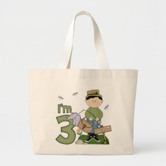 Lil Fisherman 3rd Birthday Large Tote Bag