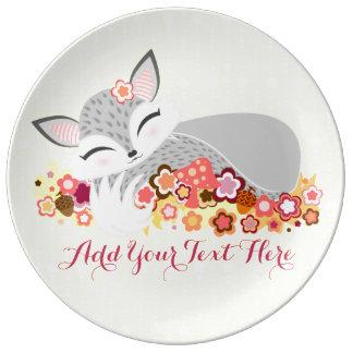 Lil Foxie Cub - Cute Custom Fox Porcelain Plate