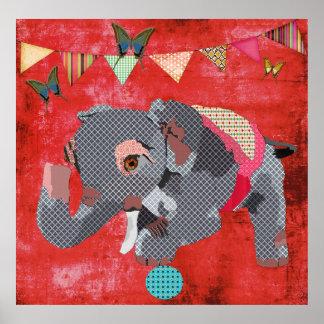 Lil' Lucky Elephant & Butterflies Red Poster