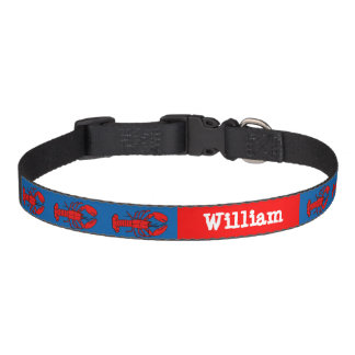 Lil Red Lobsters Personalize Name Background Color Dog Collars
