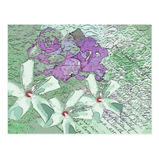 LILAC AND SAGE FLORAL MONTAGE POSTCARD
