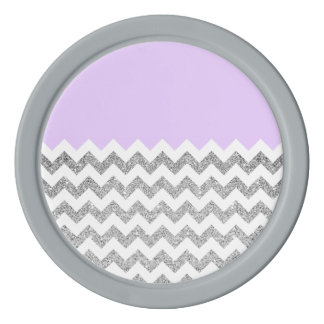 Lilac and Silver Faux Glitter Chevron Poker Chips