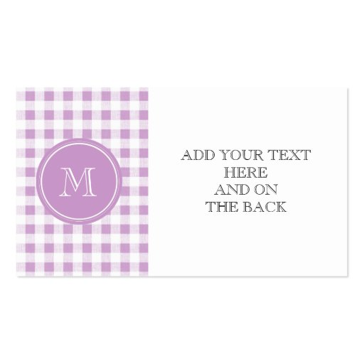 Lilac and White Gingham, Your Monogram Business Card