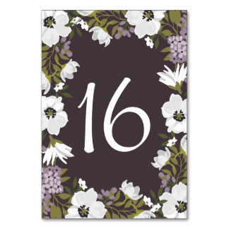 Lilac Anemone Blooms Table Numbers Card Table Card