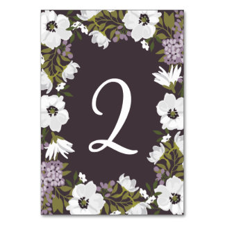 Lilac Anemone Blooms Table Numbers Flat Card Table Cards