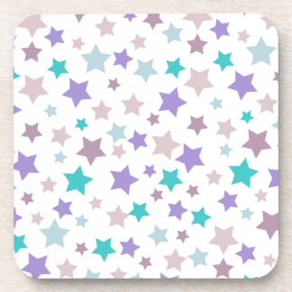 Lilac, Baby Blue and Pink stars pattern on White Coaster