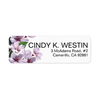 Lilac Branches Watercolor Flowers Return Address Label