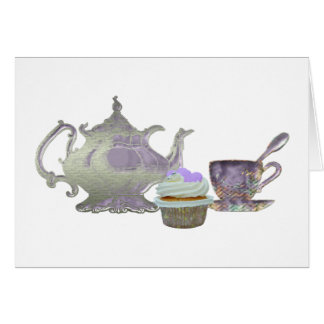 Lilac Cupcake Hearts, Teapot and Teacup Art Note Card