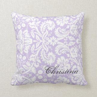 Lilac Damask Pattern Monogram Pillow