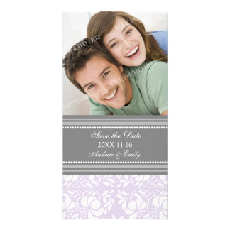 Lilac Damask Save the Date Wedding Photo Cards