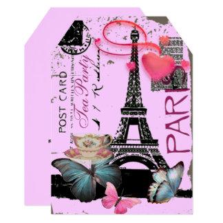 Lilac eiffel tower Paris bridal shower tea party Card