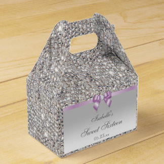 Lilac Faux Bow Silver Sequins Sweet 16