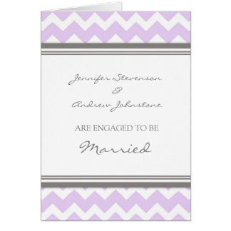 Lilac Gray Chevron Engagement Announcement Card