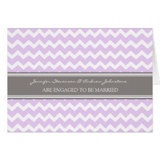 Lilac Gray Chevrons Engagement Announcement Card