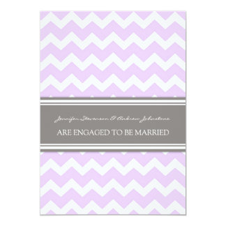 Lilac Gray Chevrons Engagement Announcement Cards