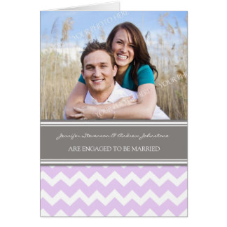 Lilac Gray Chevrons Engagement Photo Announcement Greeting Card