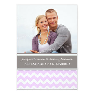 Lilac Gray Chevrons Photo Engagement Announcement
