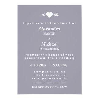 Lilac Gray with Heart and Arrow Elegant Wedding 13 Cm X 18 Cm Invitation Card
