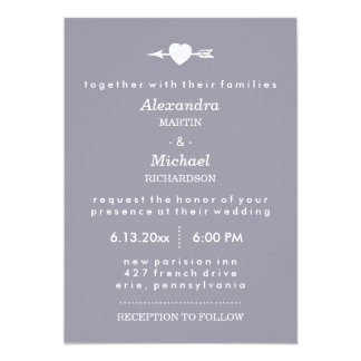 Lilac Gray with Heart and Arrow Elegant Wedding Card
