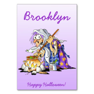 Lilac Halloween Place Cards With Purple Witch Table Card