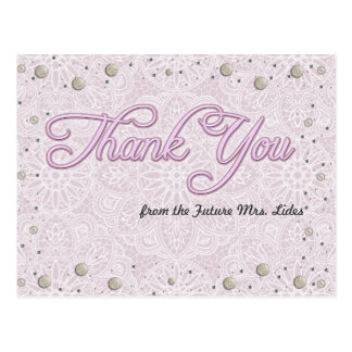 Lilac Lace Bridal Shower Thank You Post Cards