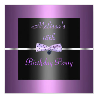 Lilac Mauve Invite 18th Birthday Party Silver Bow
