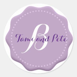 Lilac Monogram Wedding Envelope Seal Stickers