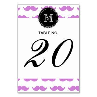 Lilac Mustache Pattern, Black White Monogram Table Card