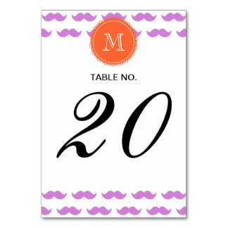 Lilac Mustache Pattern, Coral White Monogram Table Cards