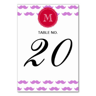 Lilac Mustache Pattern, Red White Monogram Table Card