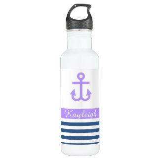 Lilac Navy Nautical Theme 710 Ml Water Bottle