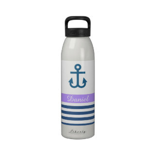 Lilac Navy Nautical Theme Reusable Water Bottle