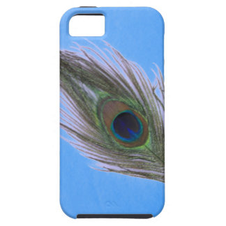 Lilac Peacock Feather on Blue iPhone 5 Case