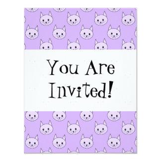 Lilac Purple cat pattern. 11 Cm X 14 Cm Invitation Card