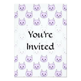 Lilac Purple cat pattern. 13 Cm X 18 Cm Invitation Card