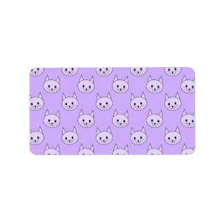 Lilac Purple cat pattern. Address Label