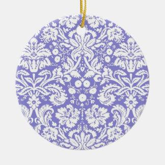 Lilac purple damask pattern christmas ornaments