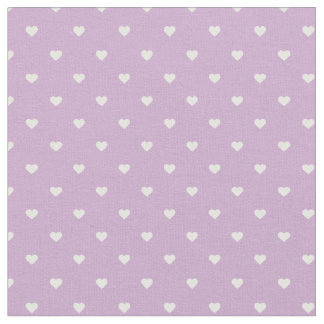 Lilac Purple Polka Dot Hearts Fabric